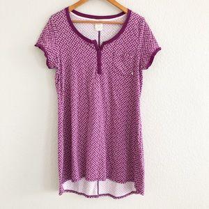 Lucky Brand Purple Floral Knit Tee Shirt Dress